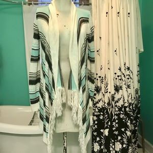 Mint and gray asymmetrical cardigan with fringe